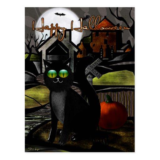 The Haunted Hills Folk Art HALLOWEEN Postcard