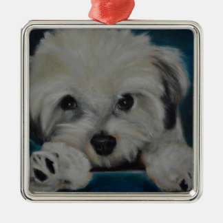 The Havanese Silver-Colored Square Decoration