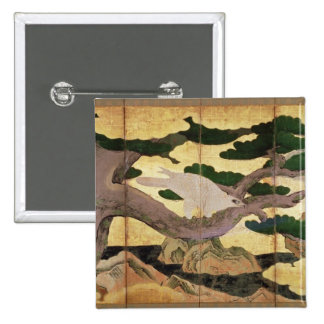 The Hawks in the Pines, 6 panel folding screen 15 Cm Square Badge