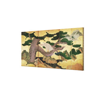 The Hawks in the Pines, 6 panel folding screen Canvas Print