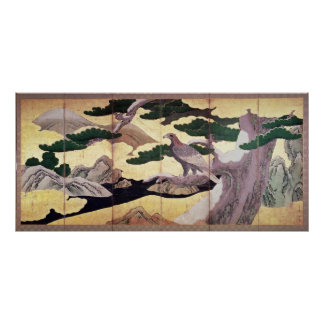 The Hawks in the Pines 6 panel folding screen Print