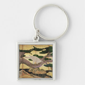 The Hawks in the Pines, 6 panel folding screen Silver-Colored Square Key Ring