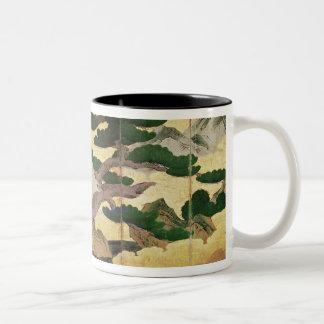 The Hawks in the Pines, 6 panel folding screen Two-Tone Coffee Mug