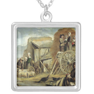 The Haycart, or Return from Haymaking, 1641 Silver Plated Necklace