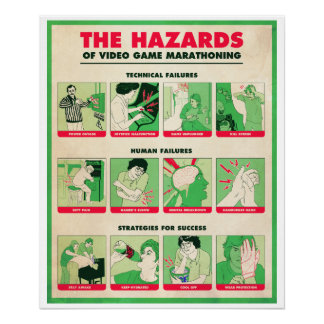 THE HAZARDS OF VIDEO GAME MARATHONING Large Poster