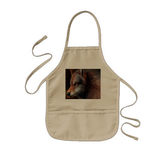 The head of a wolf painting. kids apron