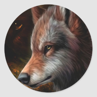 The head of a wolf painting. round sticker