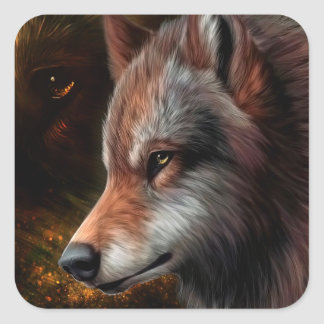 The head of a wolf painting. square sticker