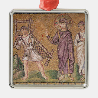 The Healing of the Paralytic of Capernaumx Silver-Colored Square Decoration