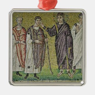 The Healing of Two Blindmen from Jericho Silver-Colored Square Decoration