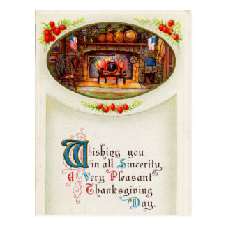 The Hearth Thanksgiving Wishes Postcard