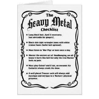The Heavy Metal Checklist Card