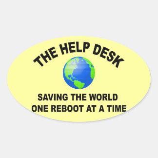 The Help Desk - Saving The World Oval Sticker