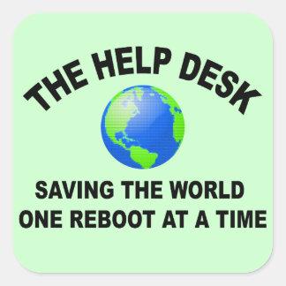 The Help Desk - Saving The World Square Sticker