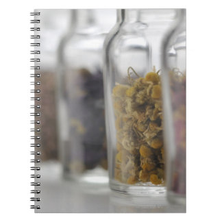 The herbs which a glass bottle contains notebooks