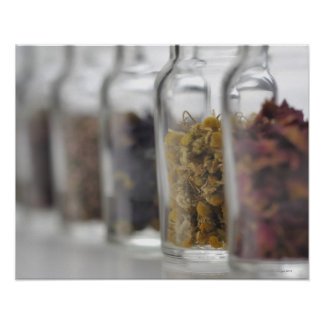 The herbs which a glass bottle contains poster