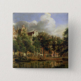 The Herengracht, Amsterdam (oil on panel) 15 Cm Square Badge