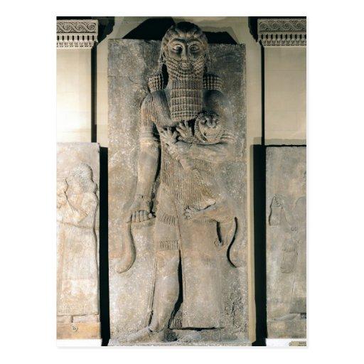 The hero Gilgamesh holding a lion Postcard