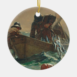 The Herring net, 1885 (oil on canvas) Christmas Ornament