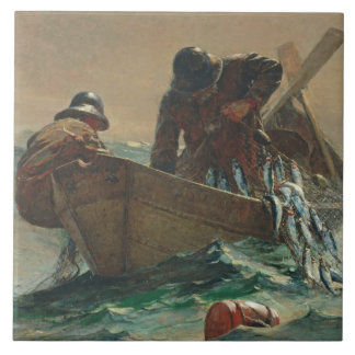 The Herring net, 1885 (oil on canvas) Tile