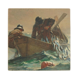 The Herring net, 1885 (oil on canvas) Wood Coaster