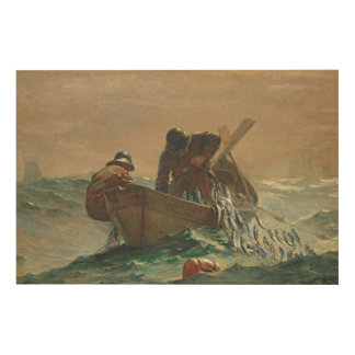 The Herring net, 1885 (oil on canvas) Wood Print