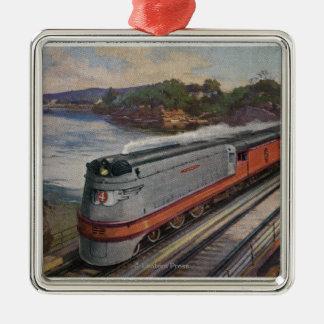 The Hiawatha Streamline Train Silver-Colored Square Decoration