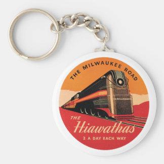 The Hiawathas Vintage Railroad Ad Basic Round Button Key Ring