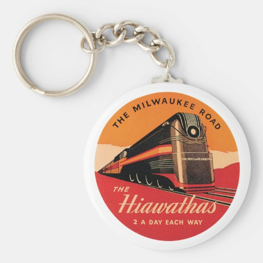 The Hiawathas Vintage Railroad Ad Basic Round Button Key Ring