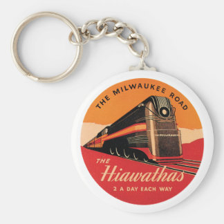 The Hiawathas Vintage Railroad Ad Key Ring