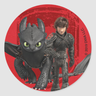 The Hidden World   Hiccup & Toothless Walking Classic Round Sticker