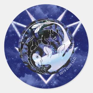 The Hidden World   Night & Light Fury Icon Classic Round Sticker