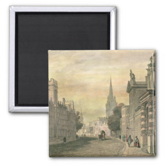 The High Street, Oxford, engraved by G. Hollis Square Magnet