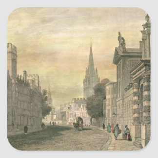 The High Street, Oxford, engraved by G. Hollis Square Sticker