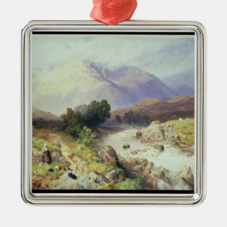 The Highlands, near Argyle (w/c on paper) Silver-Colored Square Decoration