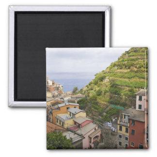 the hillside village of Manarola-Cinque Terre, Square Magnet