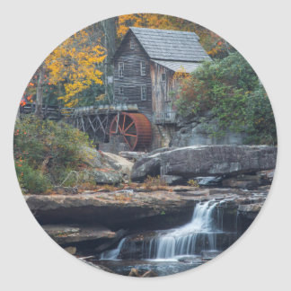 The Historic Grist Mill On Glade Creek Round Sticker