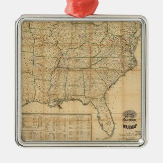 The Historical Civil War Map (1862) Silver-Colored Square Decoration