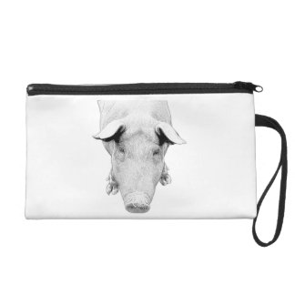 The Hog in Black and White Wristlet Purse
