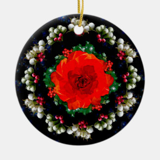 The Holly and the Rose Round Ceramic Decoration