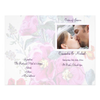 The Hollyhocks Collection Wedding Programme 21.5 Cm X 28 Cm Flyer