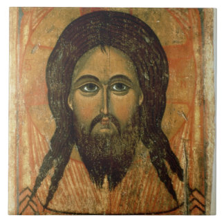 The Holy Face (panel) Large Square Tile