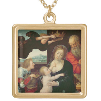 The Holy Family, 1522 (oil on panel) Square Pendant Necklace