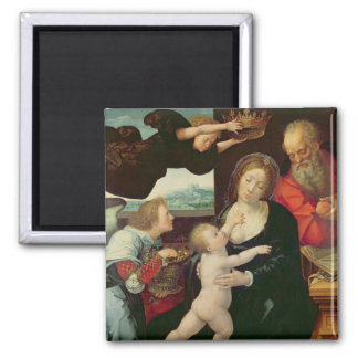 The Holy Family, 1522 (oil on panel) Square Magnet
