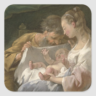 The Holy Family, 18th century Square Sticker