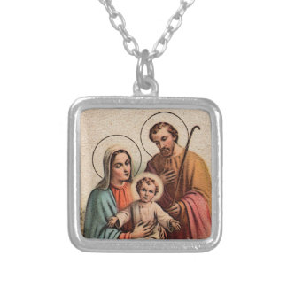 The Holy Family - Jesus, Mary, and Joseph Square Pendant Necklace