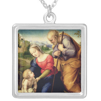 The Holy Family with a Lamb, 1507 Silver Plated Necklace