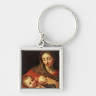 The Holy Family with Elizabeth (oil on panel) (det Silver-Colored Square Key Ring