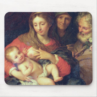 The Holy Family with Elizabeth (oil on panel) Mouse Pad