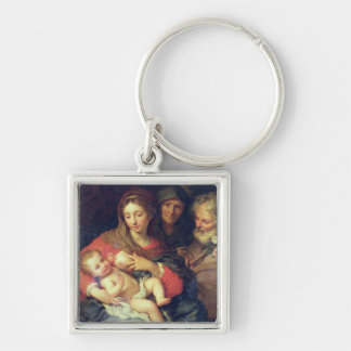 The Holy Family with Elizabeth (oil on panel) Silver-Colored Square Key Ring